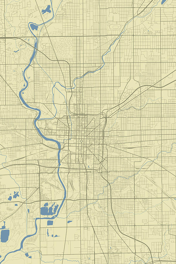 Indianapolis Indiana Usa Classic Map