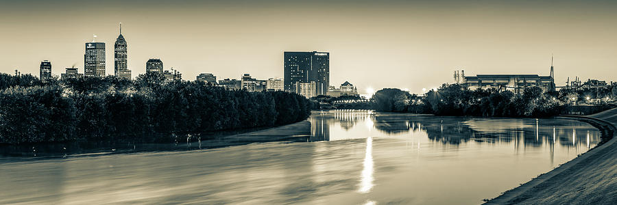 America Photograph - Indianapolis Skyline Panorama Over The White River - Sepia Edition by Gregory Ballos