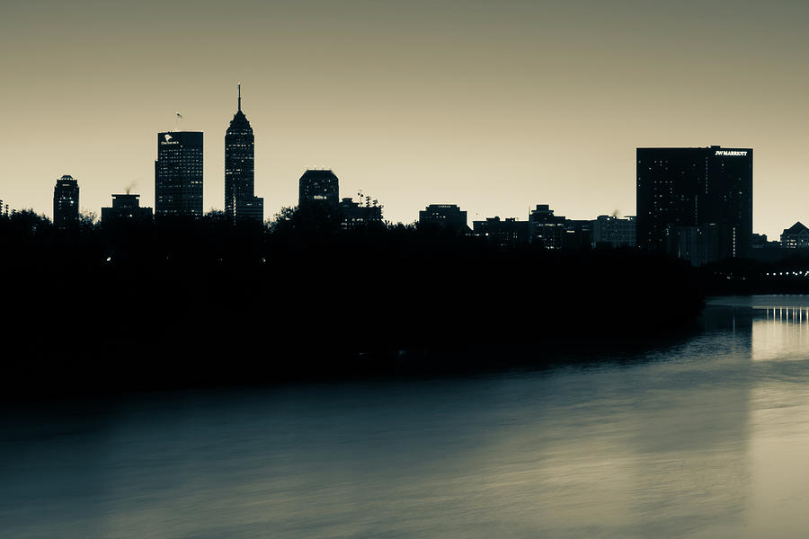 Indianapolis Skyline Silhouettes Over The White River - Sepia Photograph