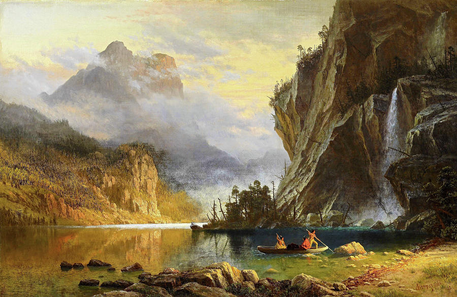 Albert Bierstadt Painting - Indians Spear Fishing - Digital Remastered Edition by Albert Bierstadt