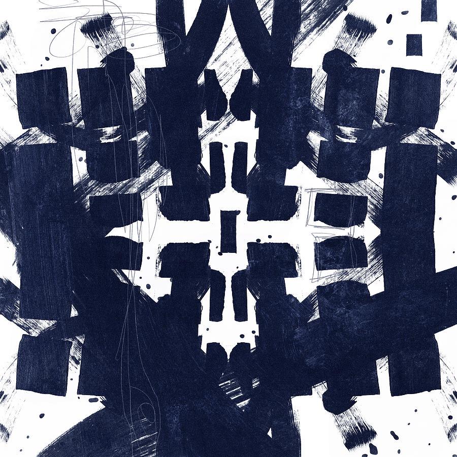 Abstract Mixed Media - Indigo Abstract 2- Art By Linda Woods by Linda Woods