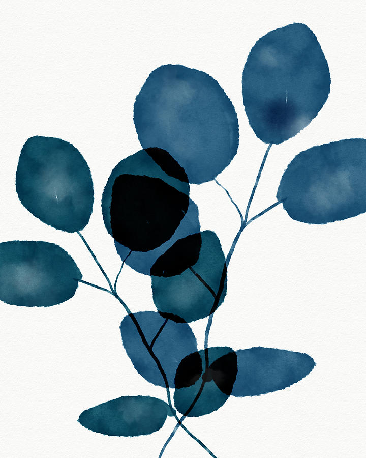 Botanical Mixed Media - Indigo Eucalyptus 3- Art By Linda Woods by Linda Woods