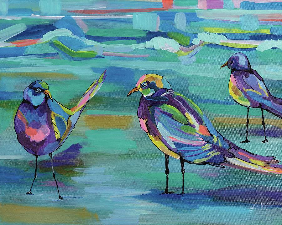 Animals Painting - Indigo Gulls by Jeanette Vertentes