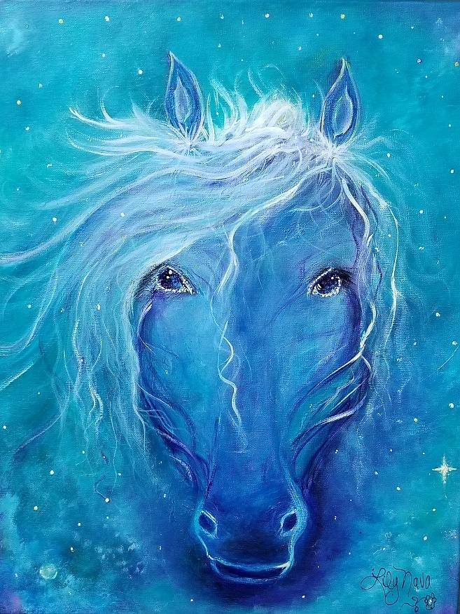 Astrology Painting - Indigo Star by Lily Nava