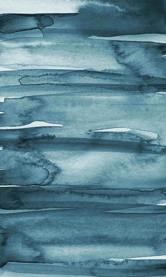 Coastal Painting - Indigo Water- abstract painting by Linda Woods