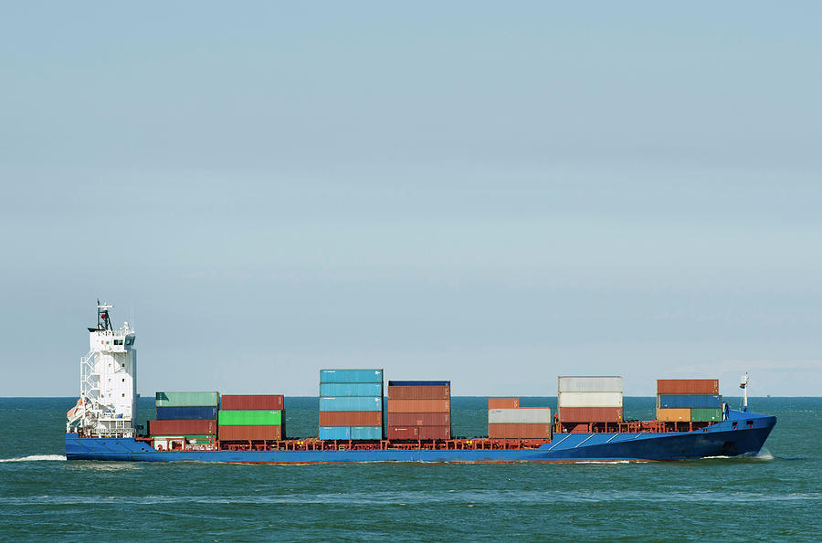 Industrial Barge Carrying Containers Photograph by Mischa Keijser