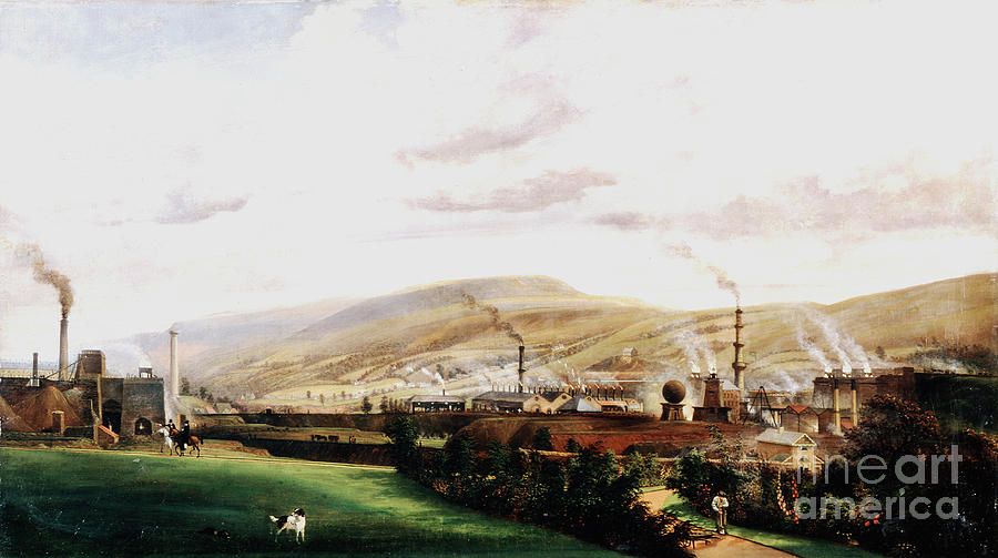 Industrial Landscape, Wales, 19th Drawing by Print Collector