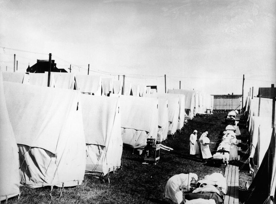 Influenza Epidemic Tent Hospital Camp Photograph by Hulton Archive