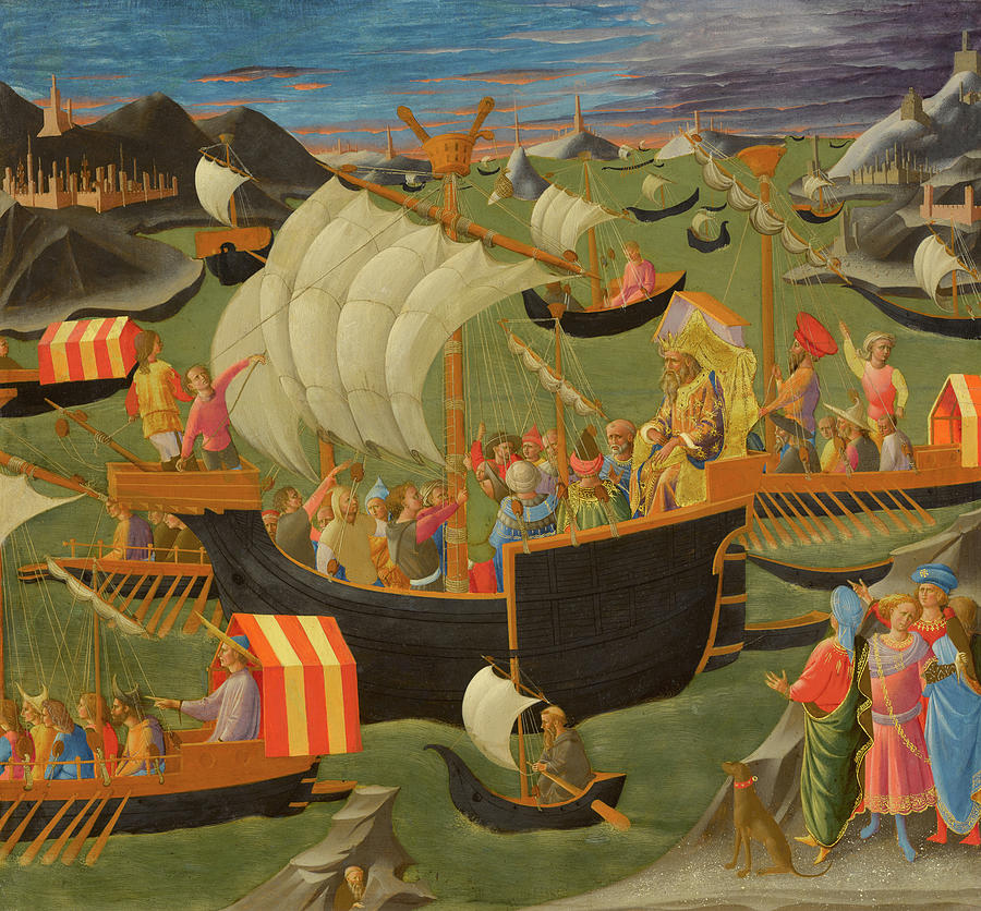 King Painting - ing Melchior Sailing to the Holy Land, 1450 by Francesco Pesellino