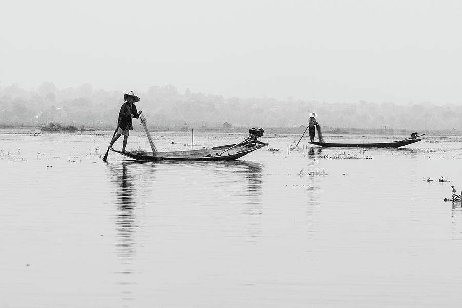 Inle Lake fisherman BW4 by Mache Del Campo