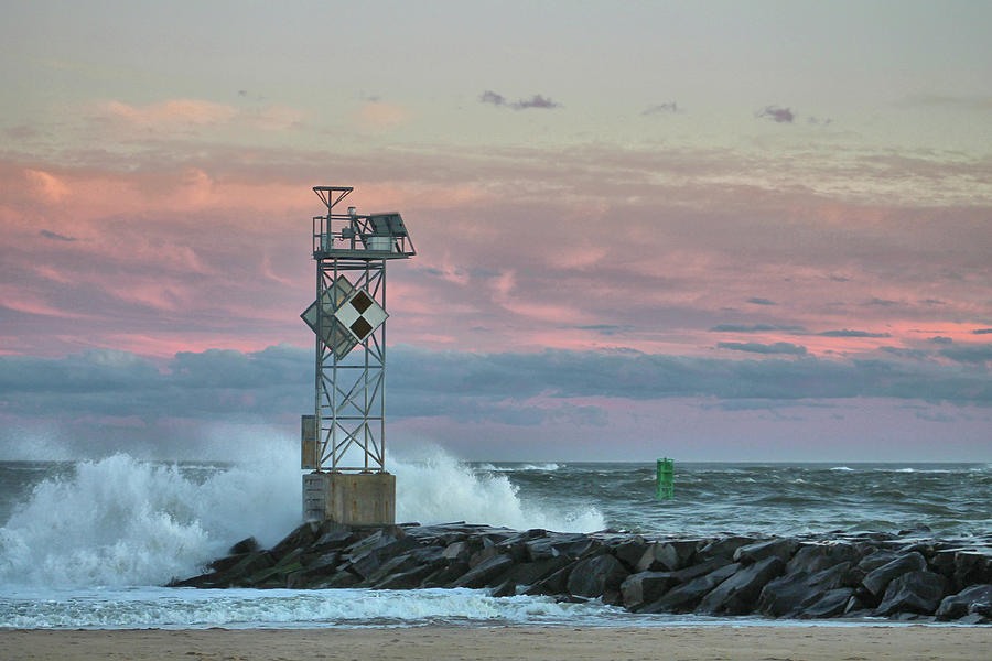 Inlet Jetty Waves At Sunset by Robert Banach