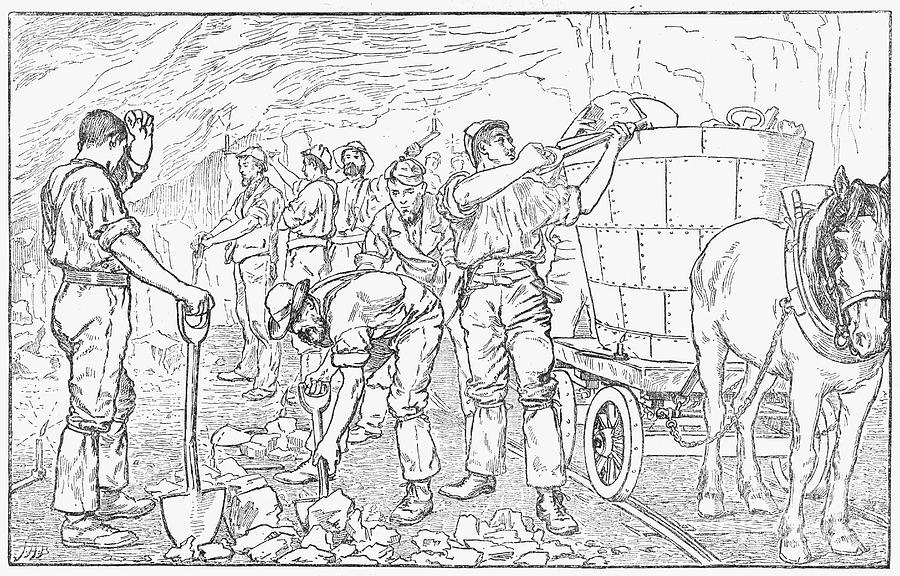 Inside A Cheshire Salt Mine, 1889 Drawing by Print Collector