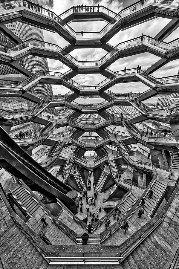 Inside the Hudson Yards Vessel NYC  BW by Susan Candelario