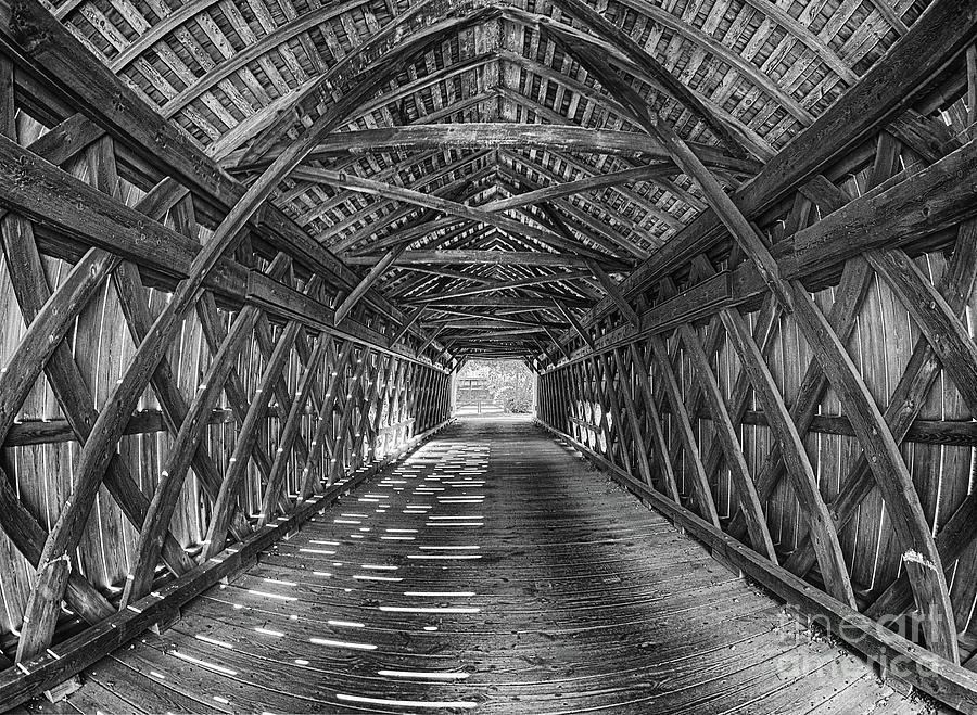 Inside Uhlerstown Covered Bridge in black and white by Mark Miller