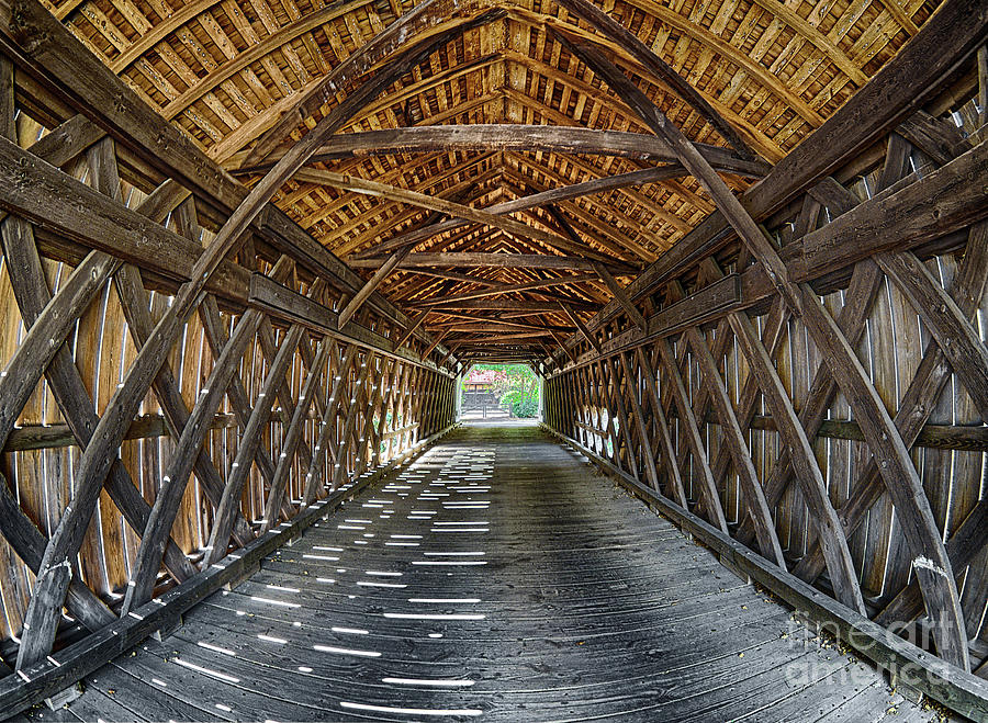 Inside Uhlerstown Covered Bridge by Mark Miller