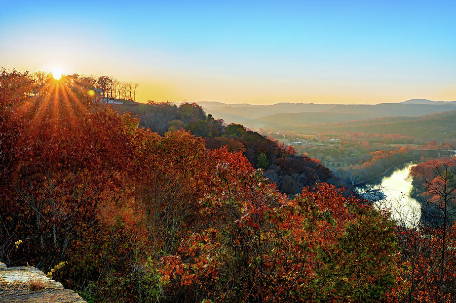 Inspiration Point Sunset - Ozark Mountain Autumn Overlook by Gregory Ballos