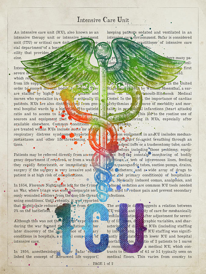 Icu Digital Art - Intensive Care Unit Gift Idea With Caduceus Illustration 03 by Aged Pixel