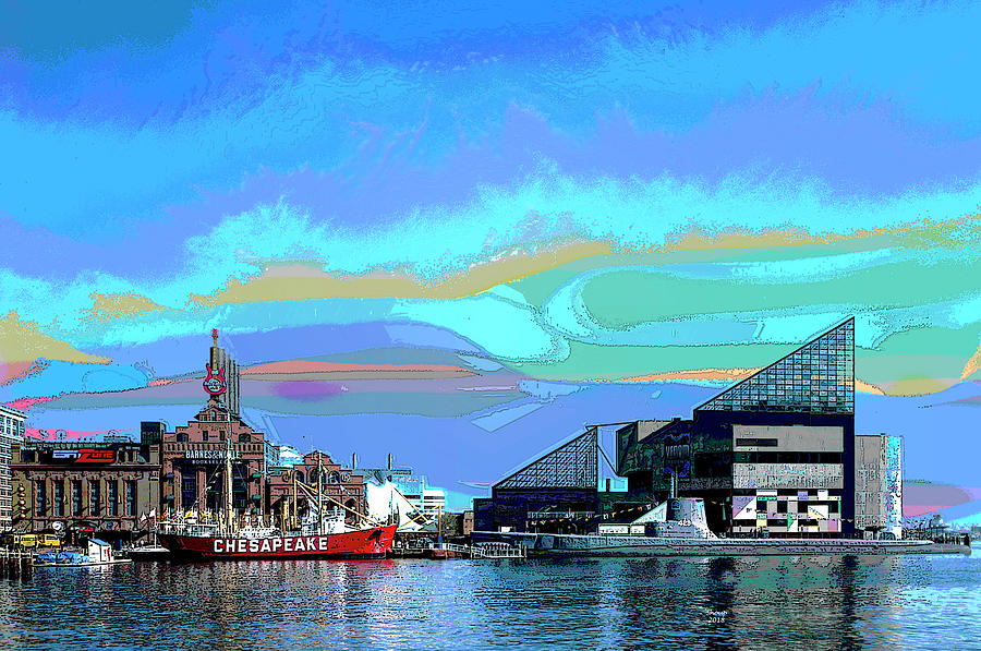 America Mixed Media - Inter Harbor Baltimore by Charles Shoup