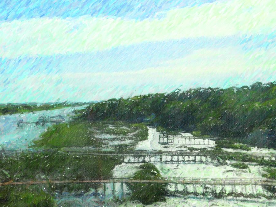 Intracoastal Waterway And Boardwalks 2 by Cathy Lindsey