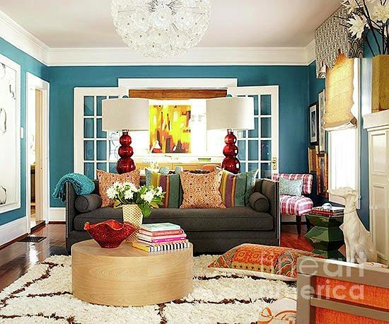 Interior design, Blue living room by Kasey Jones