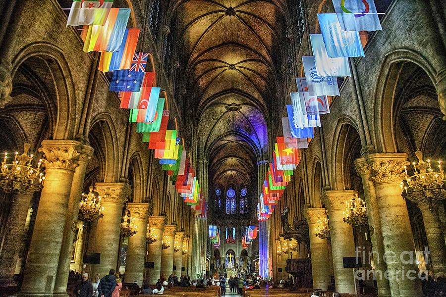 Interior Details Cathedrale Notre Dame De Paris France Before Fire by Wayne Moran