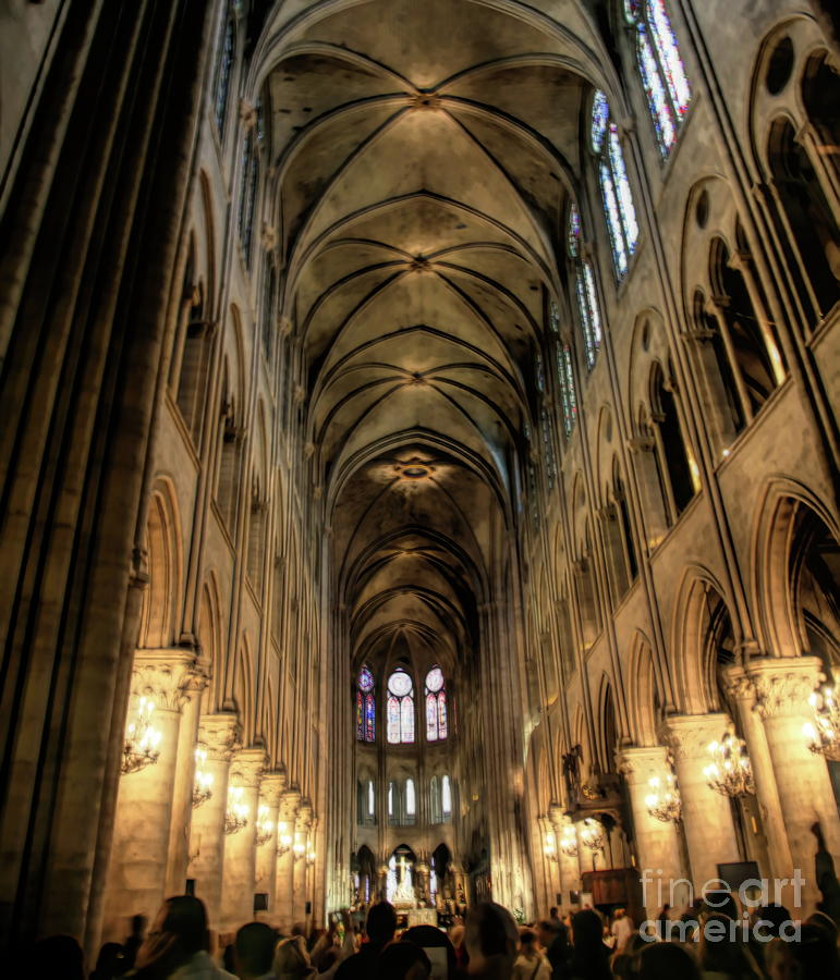 Interior HD Notre Dame Cathedral Paris  by Chuck Kuhn