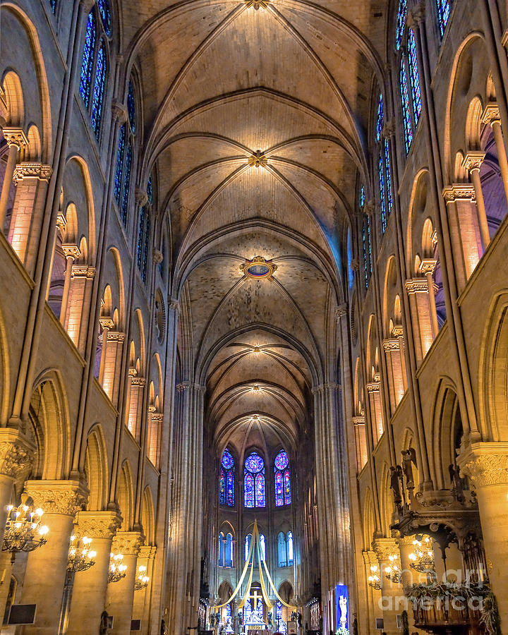 Notre Dame Photograph - Interior Of Notre Dame De Paris by Delphimages Photo Creations