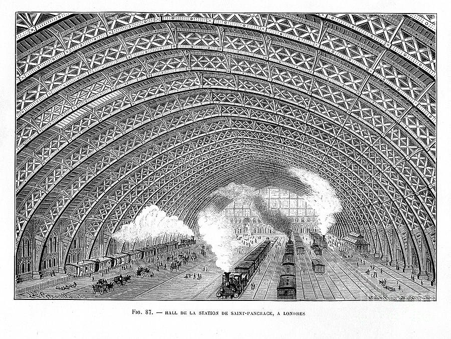 Interior Of St Pancras Railway Station Drawing by Print Collector