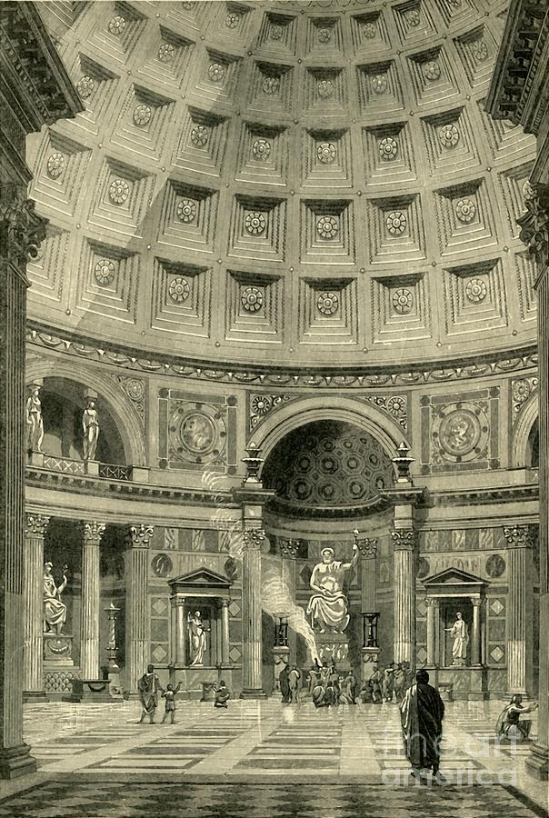 Interior Of The Pantheon At Rome Drawing by Print Collector