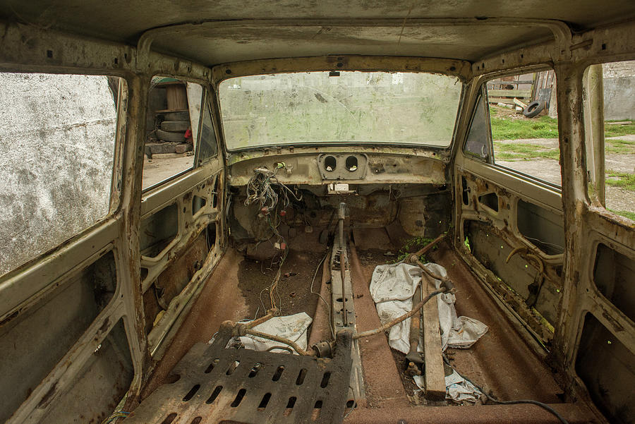 Car Photograph - Interior Of Wrecked Car Inside An Abandoned Factory In Brazil by Cavan Images