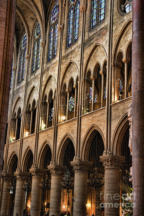 Interior Wall Pillars Notre Dame  by Chuck Kuhn