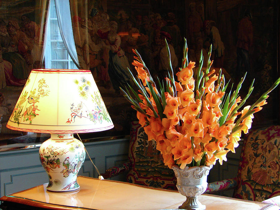 Interior with antique chinese lamp and vase with Orange Gladiolus by Cristina Stefan