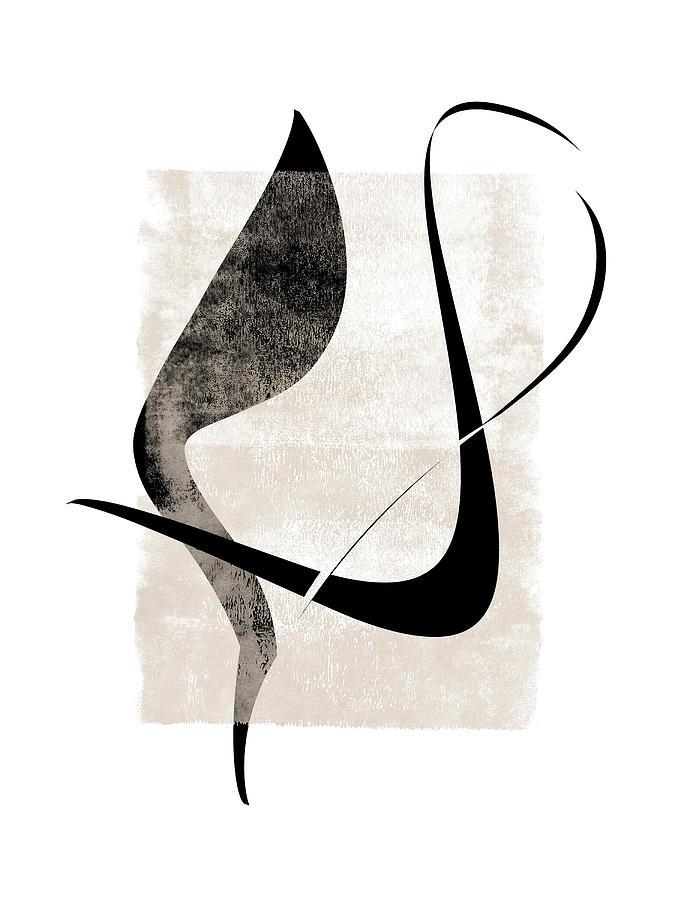 Interlocking Five - Minimalist Line Abstract by Menega Sabidussi