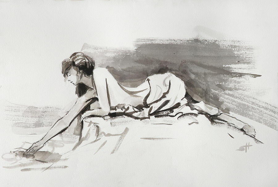 Woman Painting - Introspection by Steve Henderson