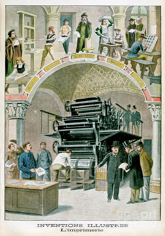 Inventions, The Print Works, 1901 Drawing by Print Collector