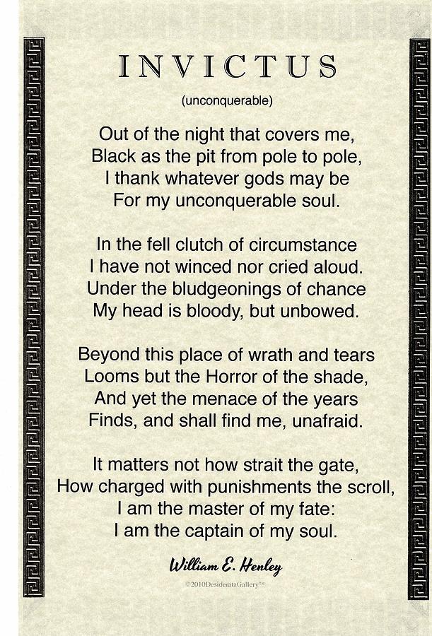 Invictus Quote Written by William Henley in 1875, Greco Roman Parchment Design by Desiderata Gallery