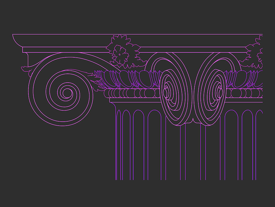 Classical Architecture Drawing - Ionic Capital Diagonal View Cropped 1 by The Classical Scroll