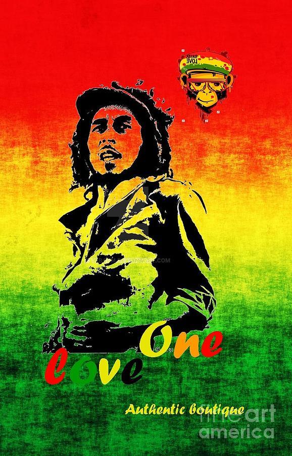 Bob Marley Reggea Rasta Color Edition Digital Art By Authentique Boutique