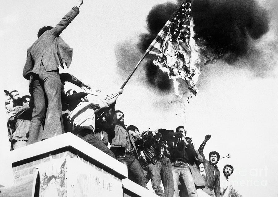 Iranian Demonstrators Burning American Photograph by Bettmann