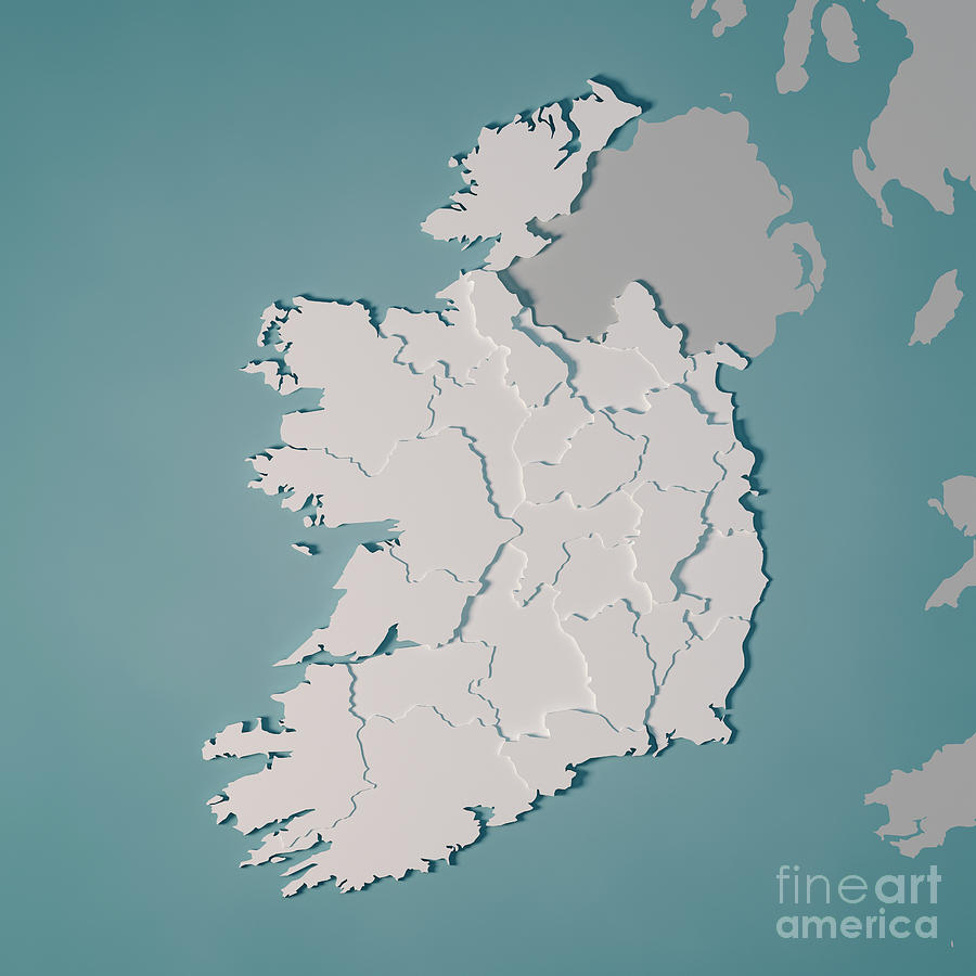 Country Map Of Ireland.Ireland Country Map Administrative Divisions 3d Render Digital Art By
