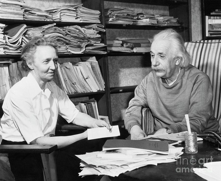 Irene Joliot Curie With Einstein Photograph by Bettmann