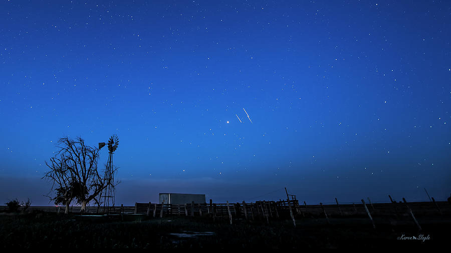 Iridium Flares Times Three by Karen Slagle