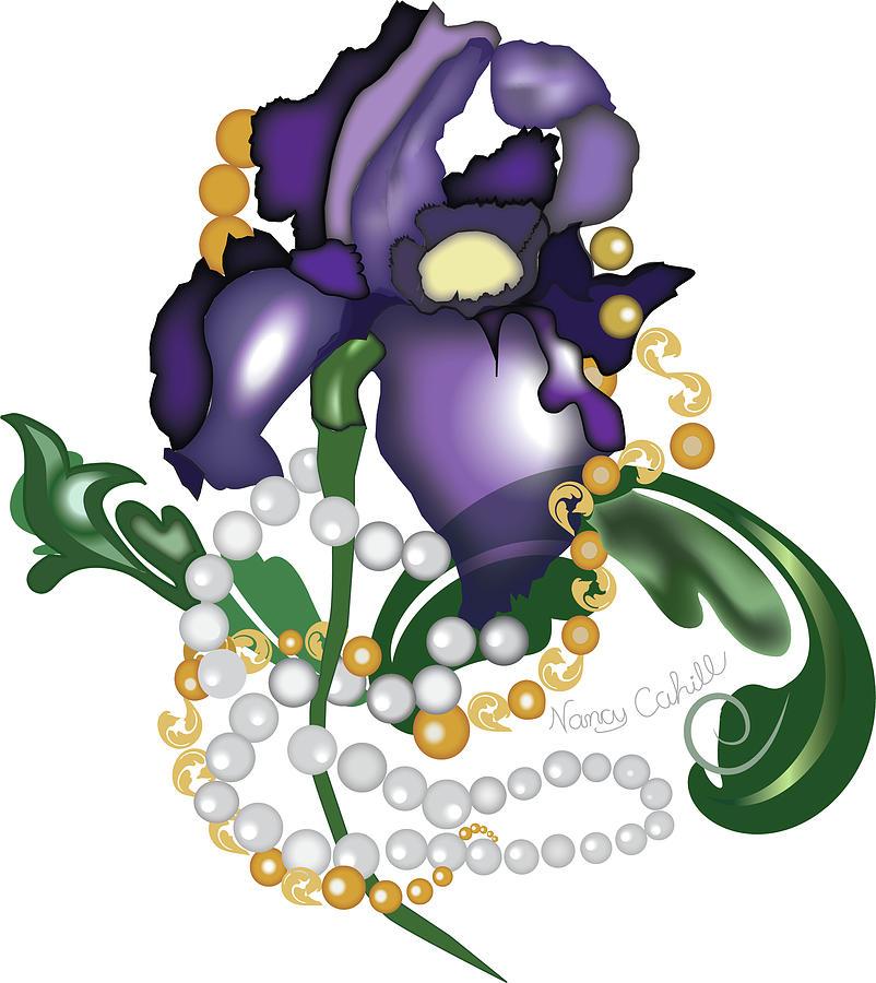 Iris Digital Art - Iris Accessorized by Nancy Cahill