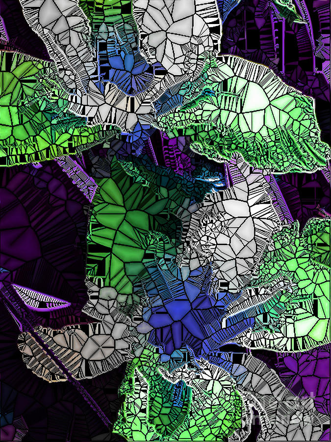 Iris Flowers-The Stained Glass Effect. by Trudee Hunter