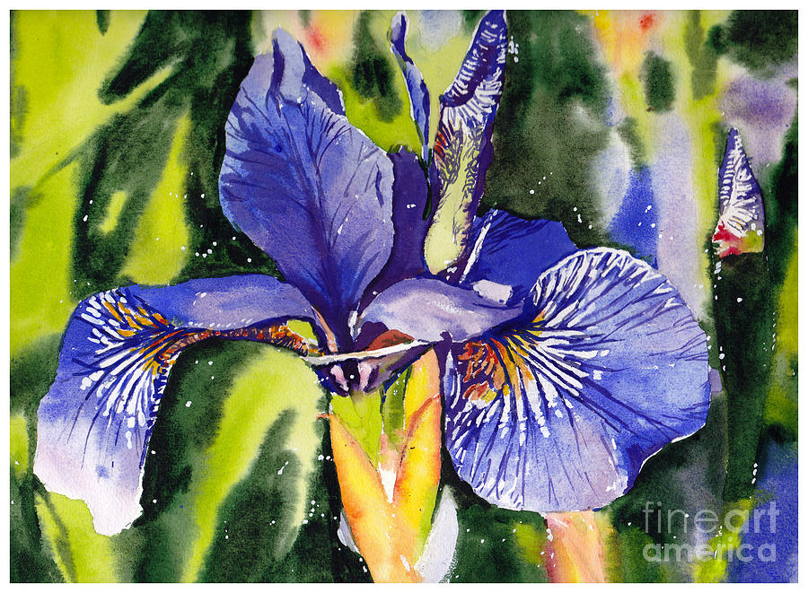 Blue Painting - Iris In Bloom by Suzann Sines