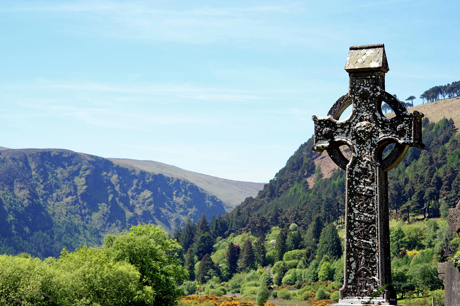 County Wicklow Photograph - Irish High Cross And Landscape by Aloha 17