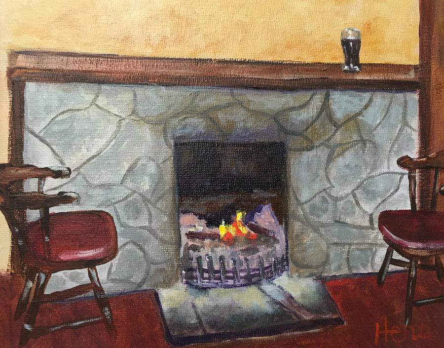 Fireplace Painting - Irish Pub by Marcia Hero