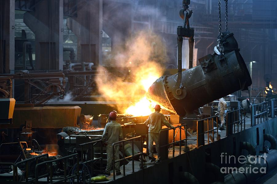 Heat Photograph - Iron And Steel Factory Workshop by Jianqing Diao