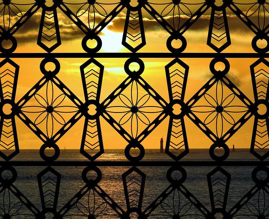 St Malo Mixed Media - Iron Lattice Pattern St Malo Sunset by Joan Stratton