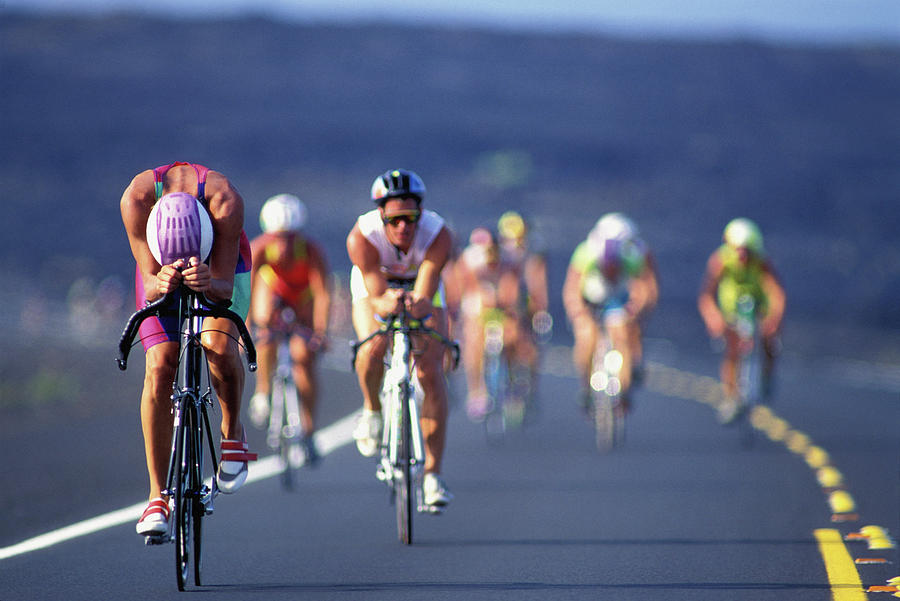 Iron Man Triathlon Cyclists Defocussed Photograph by John P Kelly